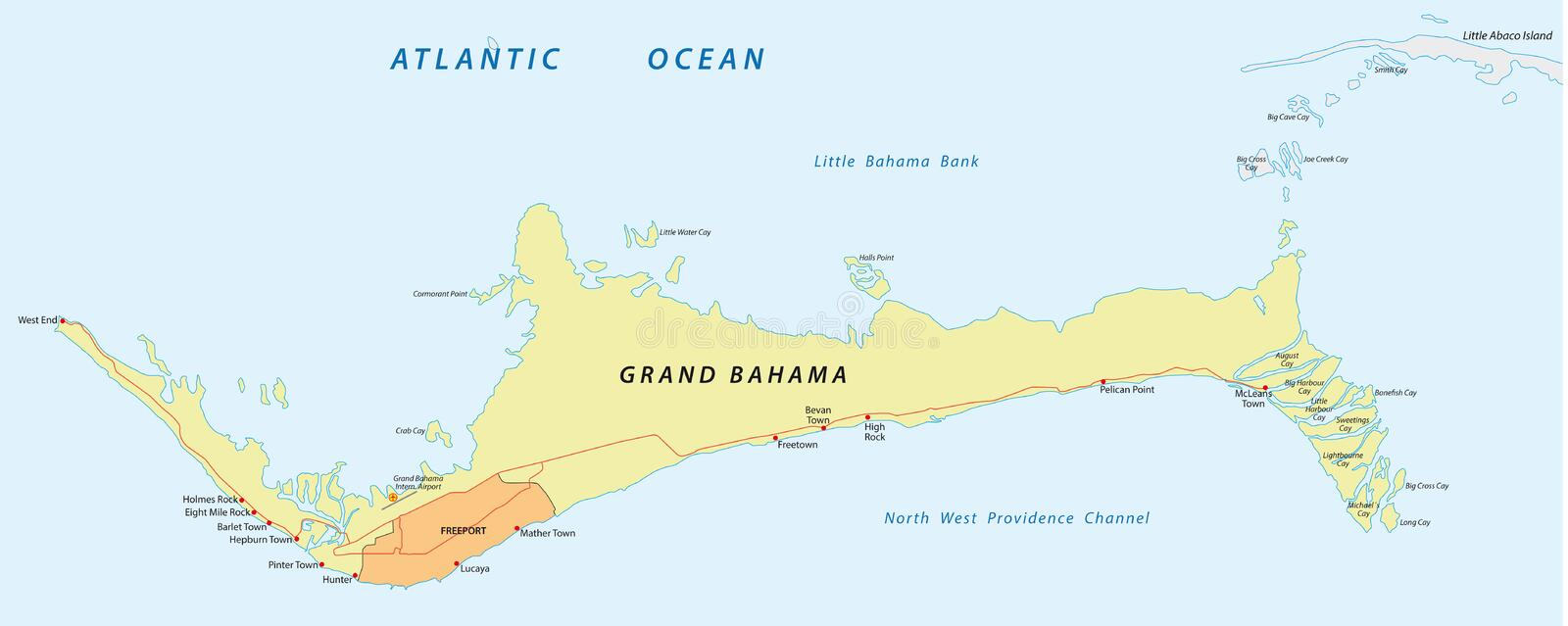 Grand bahama map. Map of The Bahamas main island of Grand Bahamas royalty free illustration