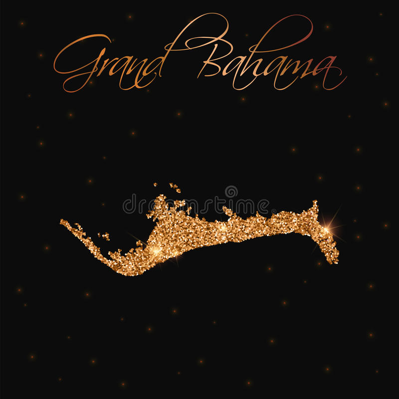 Grand Bahama map filled with golden glitter. Luxurious design element, vector illustration stock illustration