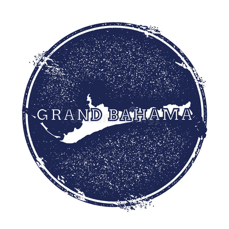 Grand Bahama map. Grunge rubber stamp with the name and map of island, illustration. Can be used as insignia, logotype, label, sticker or badge vector illustration