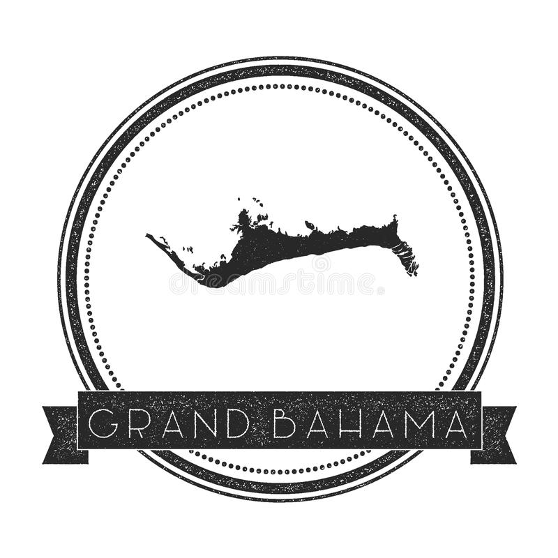 Grand Bahama map stamp. Retro distressed insignia. Hipster round badge with text banner. Island vector illustration vector illustration