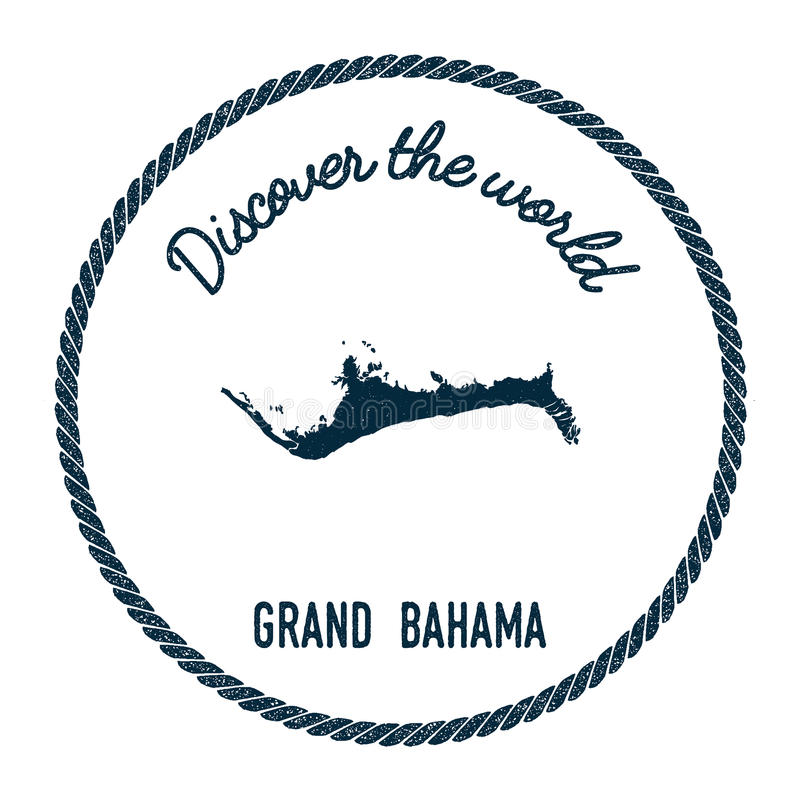 Grand Bahama map in vintage discover the world. Grand Bahama map in vintage discover the world insignia. Hipster style nautical postage stamp, with round rope stock illustration