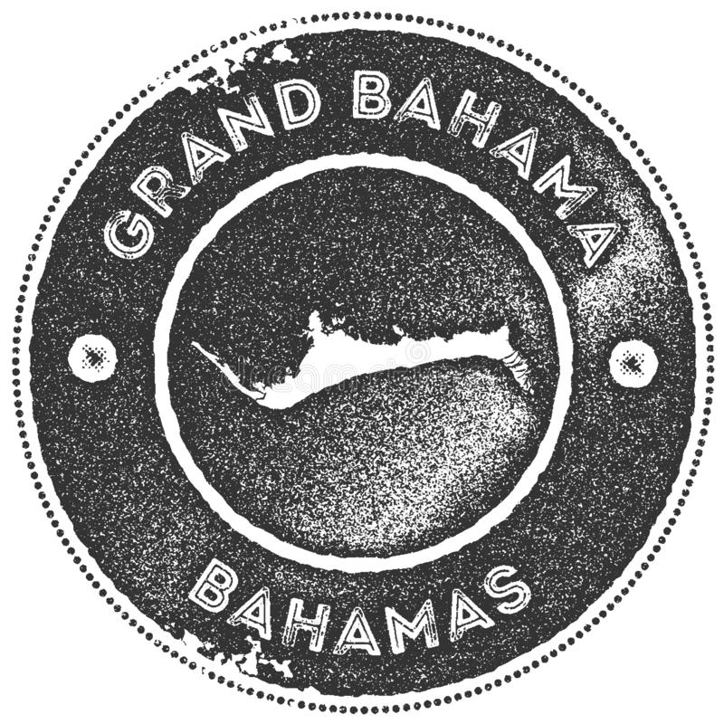 Grand Bahama map vintage stamp. Retro style handmade label, badge or element for travel souvenirs. Dark grey rubber stamp with island map silhouette. Vector vector illustration