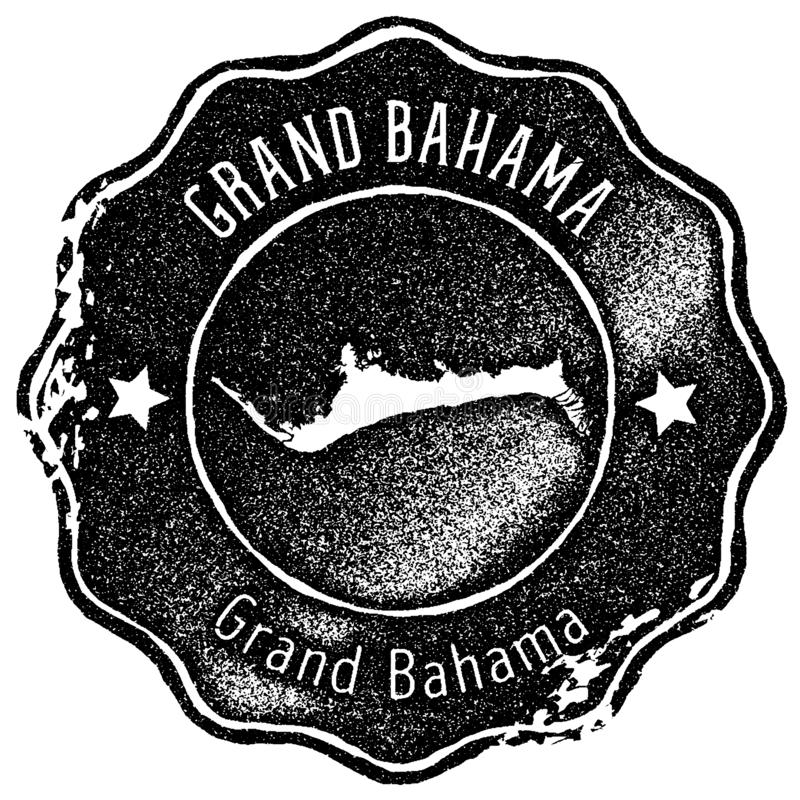 Grand Bahama map vintage stamp. Retro style handmade label, badge or element for travel souvenirs. Black rubber stamp with island map silhouette. Vector royalty free illustration
