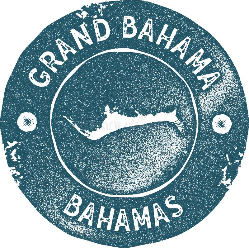 Grand Bahama map vintage stamp. Retro style handmade label, badge or element for travel souvenirs. Blue rubber stamp with island map silhouette. Vector royalty free illustration