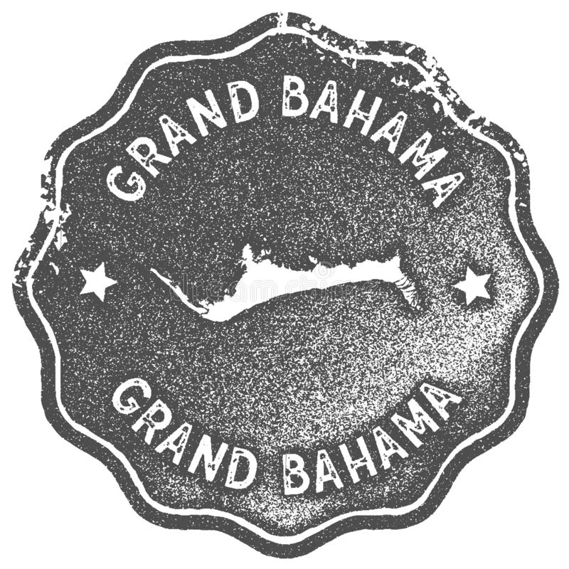 Grand Bahama map vintage stamp. Retro style handmade label, badge or element for travel souvenirs. Grey rubber stamp with island map silhouette. Vector royalty free illustration