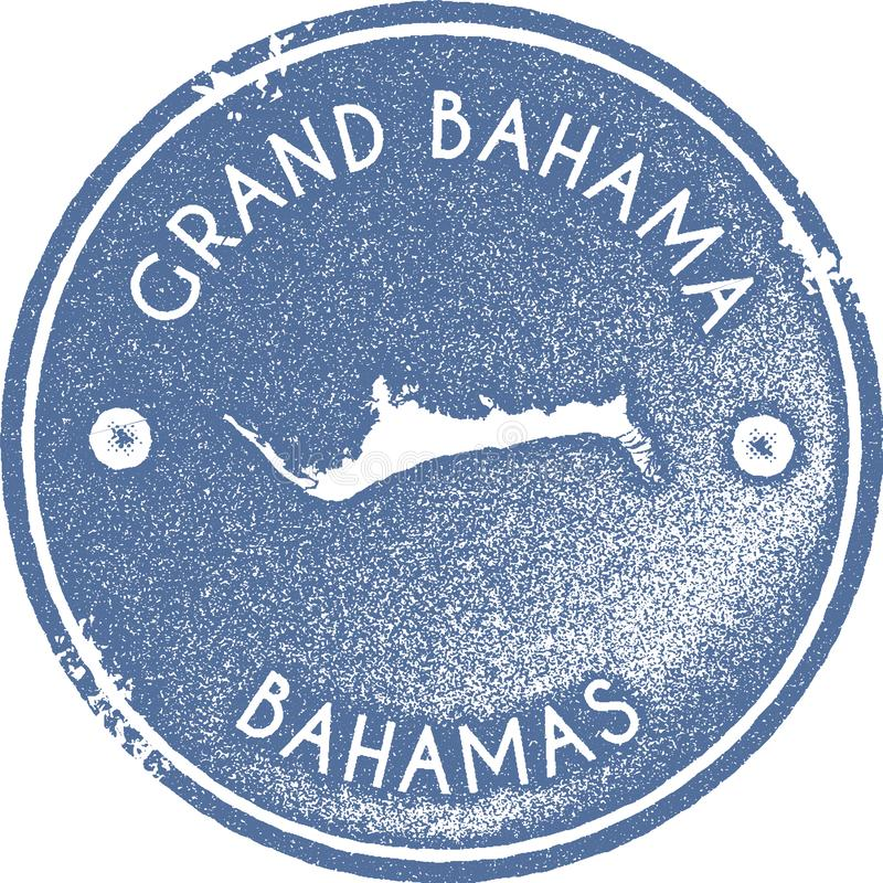 Grand Bahama map vintage stamp. Retro style handmade label, badge or element for travel souvenirs. Light blue rubber stamp with island map silhouette. Vector royalty free illustration