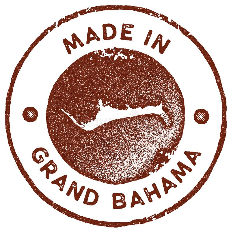 Grand Bahama map vintage stamp. Retro style handmade label, badge or element for travel souvenirs. Red rubber stamp with island map silhouette. Vector stock illustration