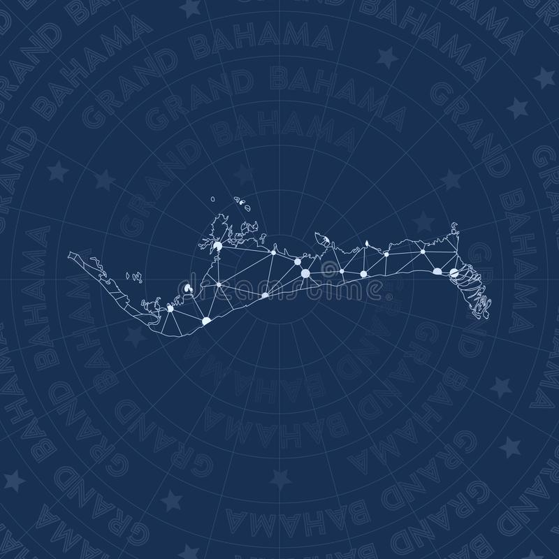 Grand Bahama network, constellation style island. Grand Bahama network, constellation style island map. Posh space style, modern design. Grand Bahama network vector illustration