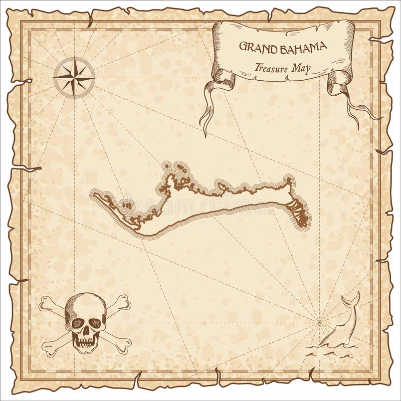 Grand Bahama old pirate map. Sepia engraved parchment template of treasure island. Stylized manuscript on vintage paper royalty free illustration