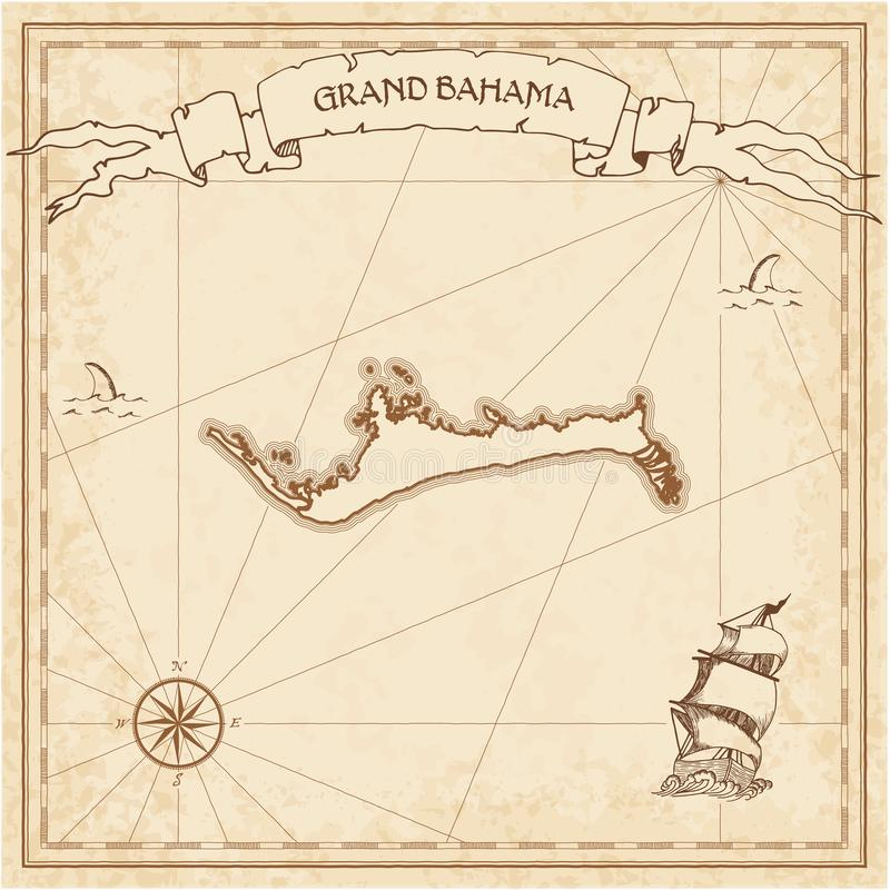 Grand Bahama old treasure map. Sepia engraved template of pirate island parchment. Stylized manuscript on vintage paper royalty free illustration