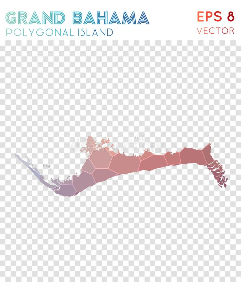 Grand Bahama polygonal map, mosaic style island. Powerful low poly style, modern design. Grand Bahama polygonal map for infographics or presentation vector illustration