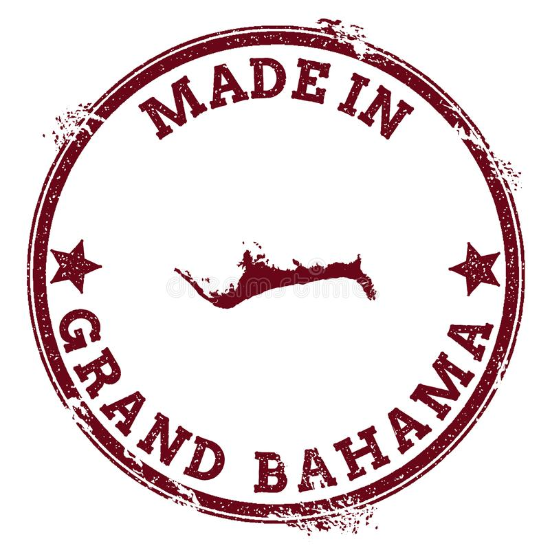 Grand Bahama seal. Vintage island map sticker. Grunge rubber stamp with Made in text and map outline, vector illustration royalty free illustration