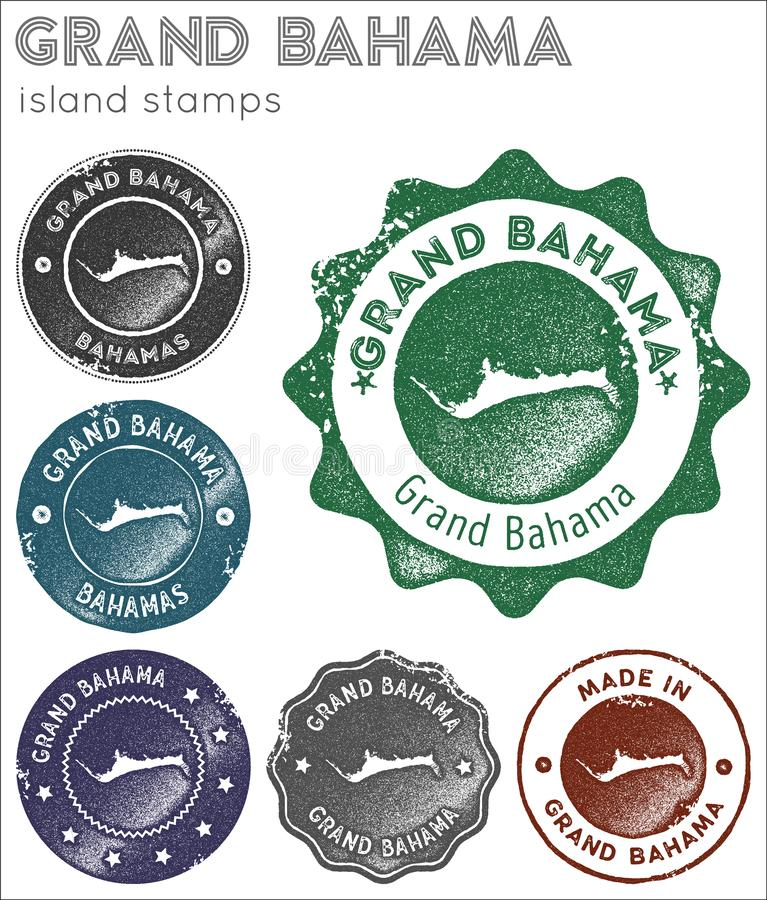 Grand Bahama stamps collection. Rubber stamps with island map silhouette. Vector set of Grand Bahama logo stock illustration