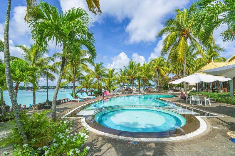 Grand baie, Mauritius - February 18, 2018:nLuxury resort with swim pool at Grand baie, on Mauritius island, Africa. Grand baie, Mauritius - February 18, 2018 stock images