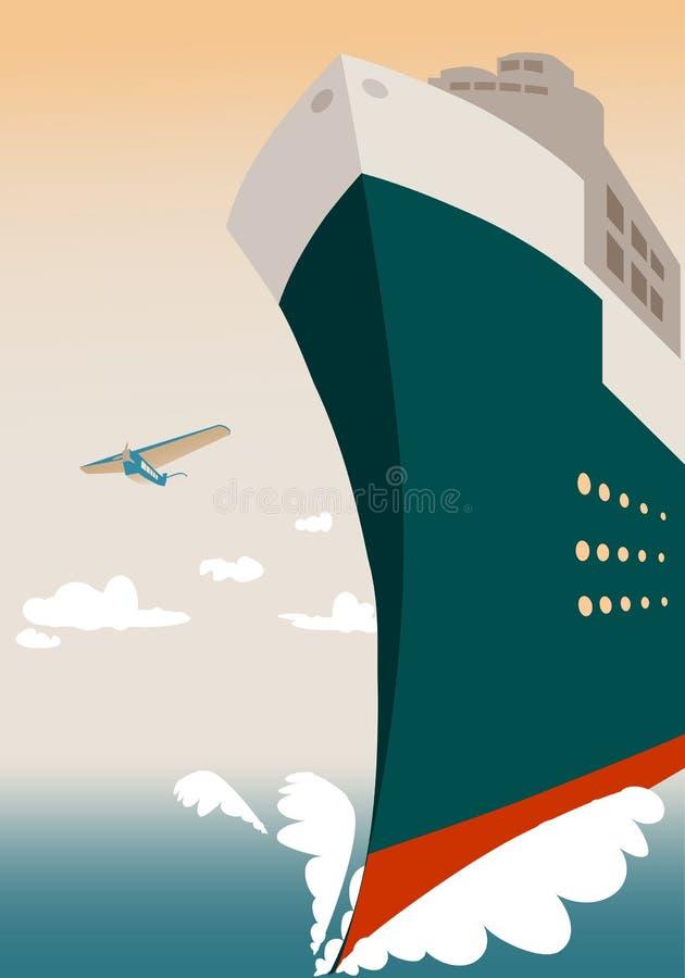 Grand bateau de croisière transocéanien au coucher du soleil illustration de vecteur
