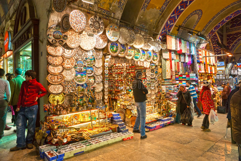 Grand bazaar shops in Istanbul. ISTANBUL - JANUARY 25,: the Grand Bazaar, considered to be the oldest shopping mall in history with over 1200 jewelry,carpet stock photography