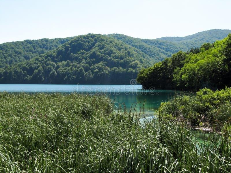 Grand beau lac bleu au centre des lacs parc national, Croatie Plitvice image stock