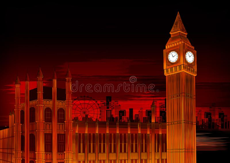 Grand Ben The Great Bell du monument historique de renommée mondiale d'horloge de Westminster à Londres illustration stock