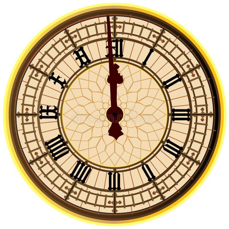 Grand Ben Midnight Clock Face illustration stock