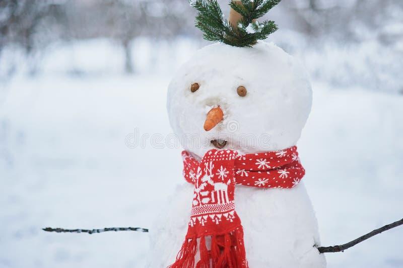 Grand bonhomme de neige blanc avec l'?charpe et le chapeau photos stock