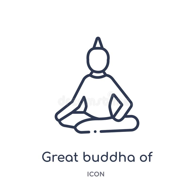 Grand Bouddha linéaire d'icône de la Thaïlande d'architecture et de collection d'ensemble de voyage Ligne mince grand Bouddha du  illustration libre de droits