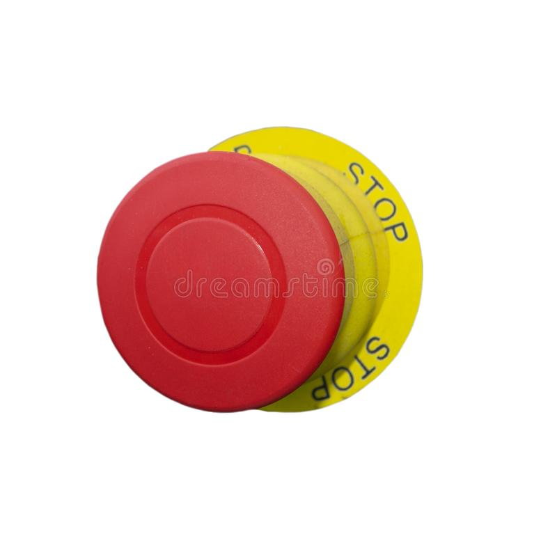 Grand bouton rouge avec l'arrêt de mot L'objet est isol? sur un fond blanc photos stock