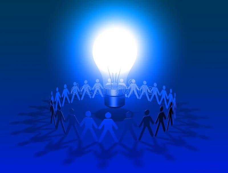 Grand briller bleu d'ampoule entouré par le groupe de personnes illustration de vecteur