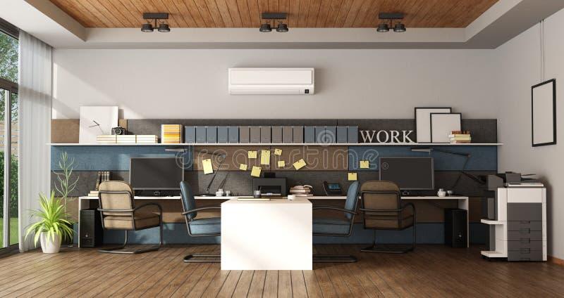 Grand bureau avec le poste de travail quatre illustration stock