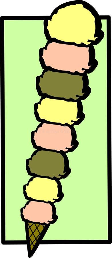Grand cône de crême glacée grand illustration libre de droits