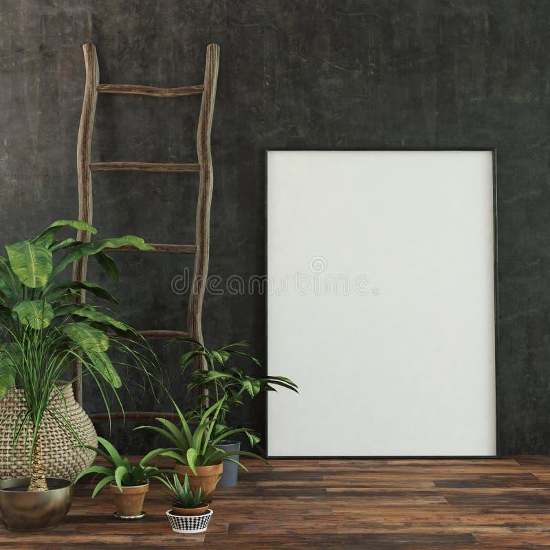 Grand cadre de tableau ou toile blanc vide illustration stock