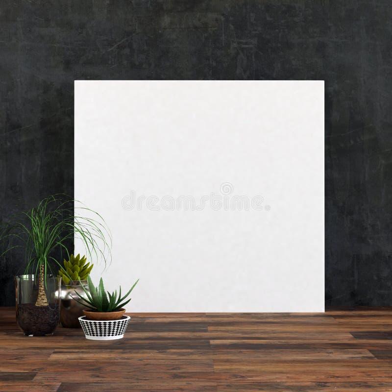 Grand cadre de tableau ou toile blanc vide carré illustration de vecteur