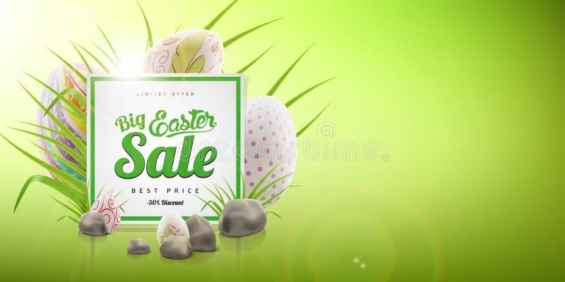 Grand calibre de fond de bannière de vente de Pâques avec l'offre énorme de remise, l'herbe verte, les pierres et les oeufs illustration libre de droits