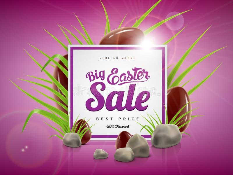 Grand calibre de fond de bannière de vente de Pâques avec l'offre énorme de remise, l'herbe verte, les pierres et les oeufs de ch illustration libre de droits