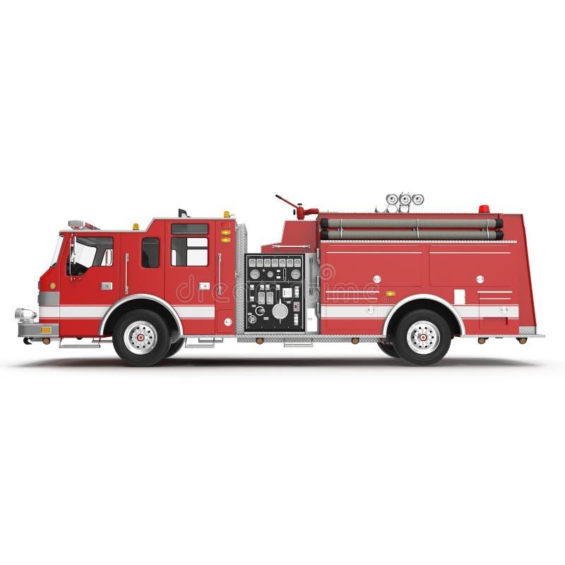 Grand camion de pompiers rouge d'isolement sur le blanc illustration 3D illustration stock