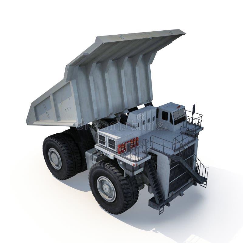 Grand camion de remorque prêt pour le grand travail dans une mine Sur le blanc illustration 3D illustration libre de droits