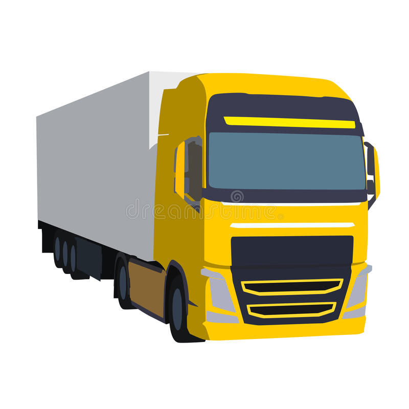 Grand camion jaune tirant la charge, illustration de vecteur illustration libre de droits