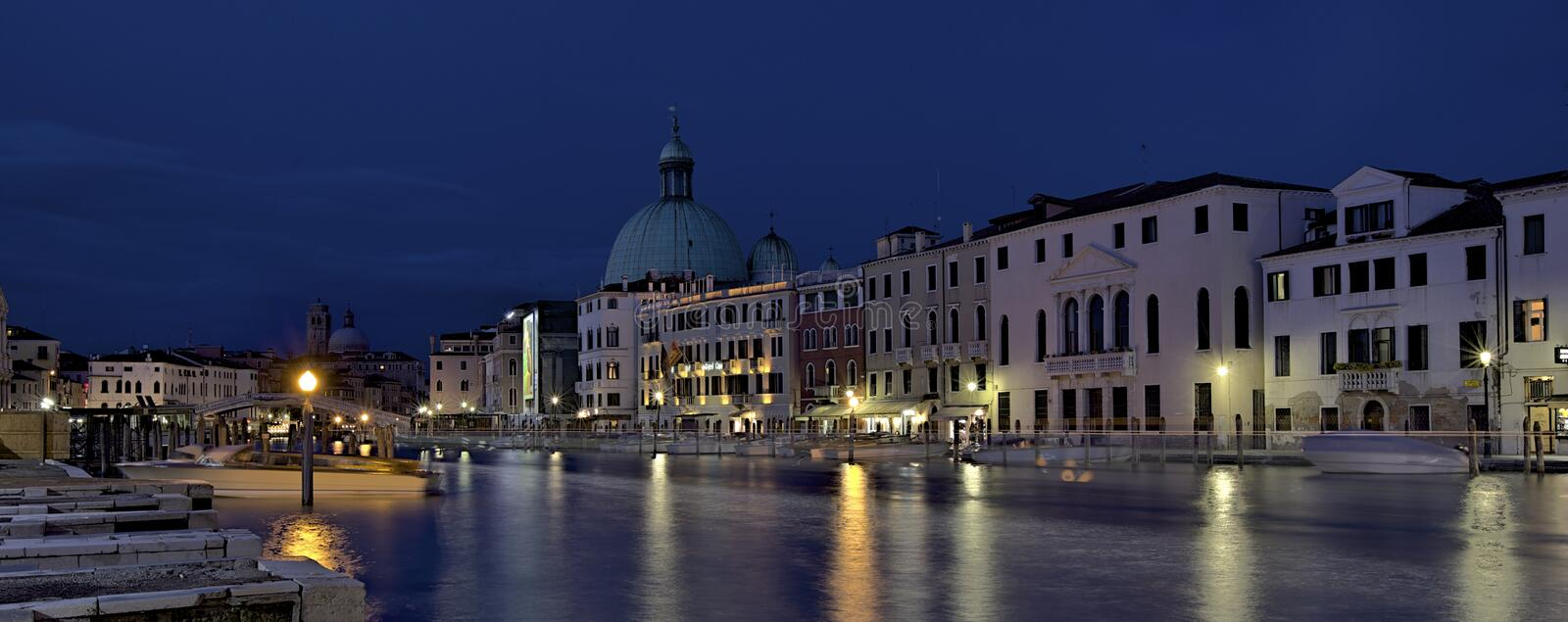 Grand Canal. Night-scene of Grand Canal, Venice royalty free stock photos