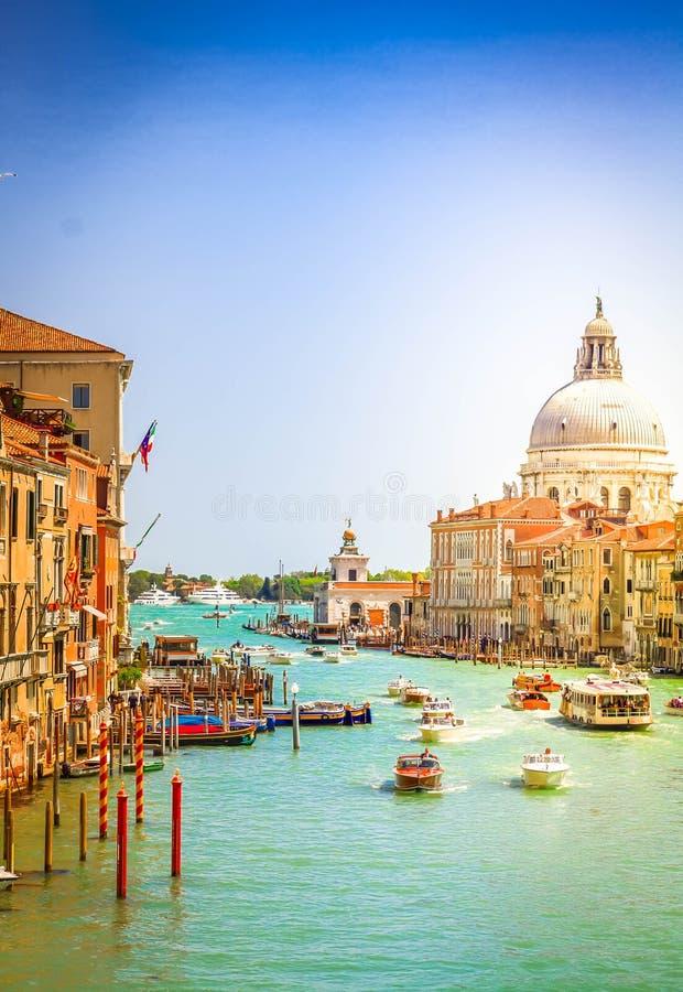 Grand canal, Venice, Italy. Grand canal and Basilica Santa Maria della Salute at sunny day, Venice, Italy, retro toned stock images