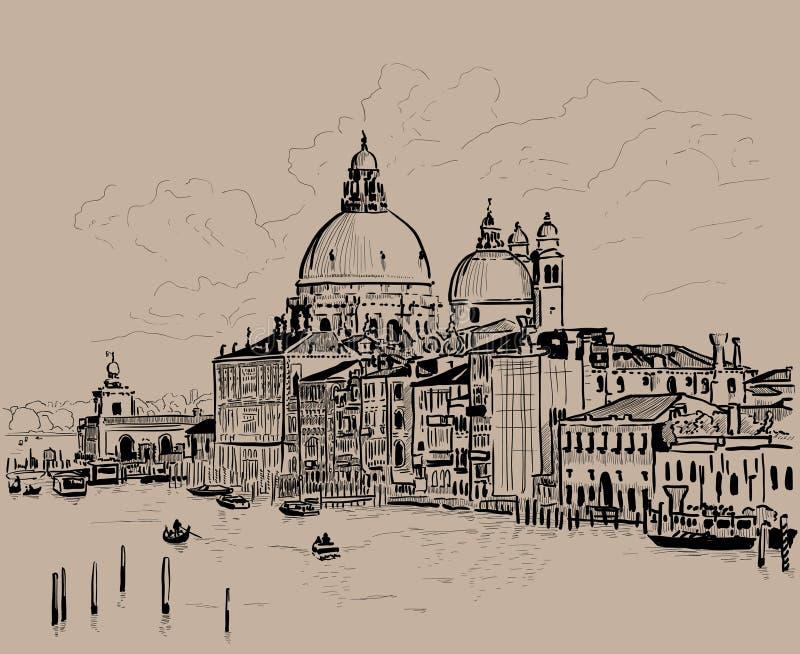 Grand canal and Basilica Santa Maria della Salute, Venice, Italy. Ink. Digital Sketch Hand Drawing. Vector. Illustration stock illustration
