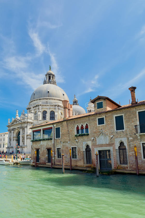 Grand Canal with Basilica Santa Maria della Salute in Venice stock photo