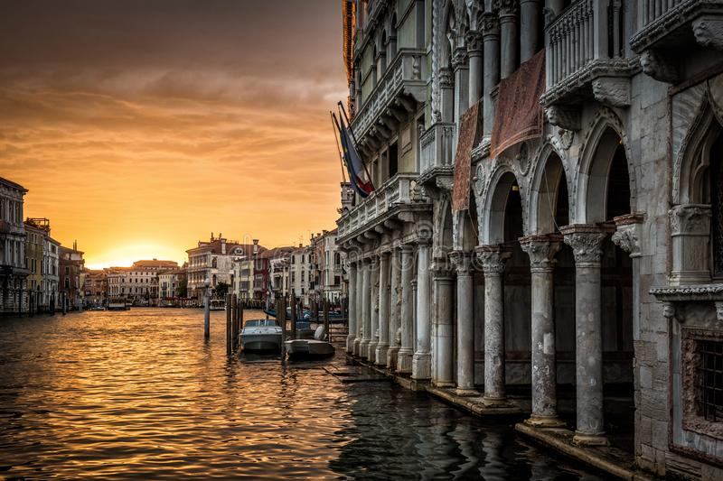 Grand Canal with Ca` d`Oro palace at sunset in Venice. Italy. Ca` d`Oro Palazzo Santa Sofia is one of the older palaces in Venice stock photo