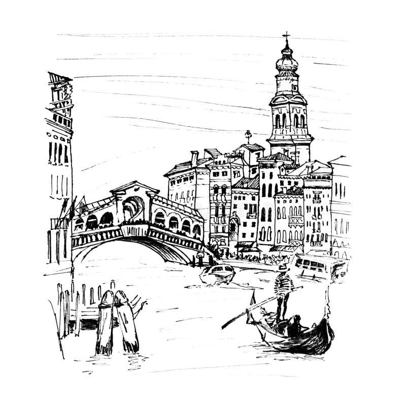 Grand Canal dichtbij brug Rialto in Venetië, Italië stock illustratie