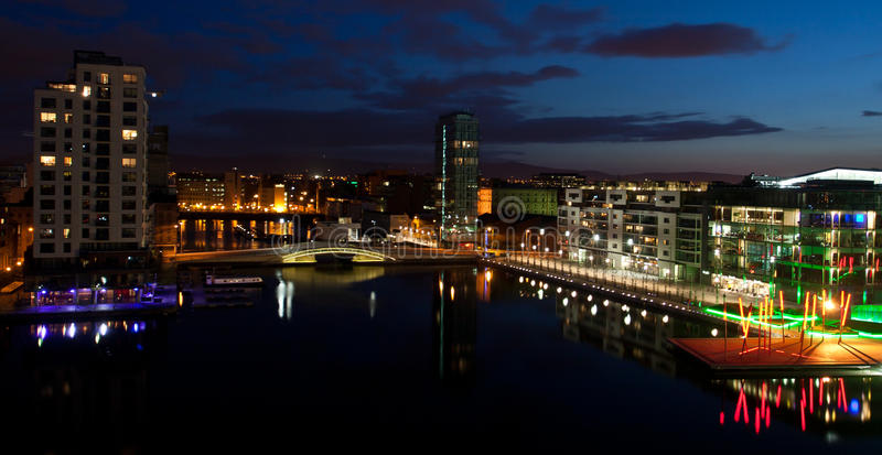 Grand Canal Dock Dublin. Nightshot of Dublin's recently built new district the Grand Canal dock, a place of modern glass and steel buildings offices restaurants stock photos