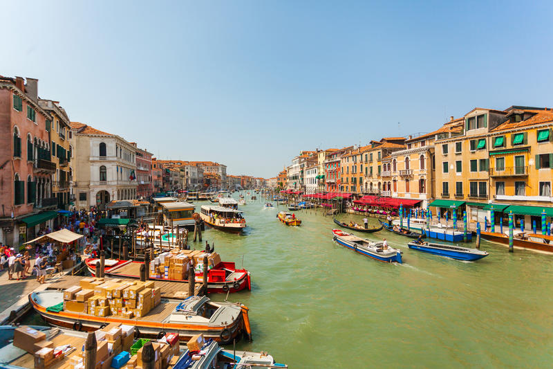 Grand Canal durante el día en Venecia Italia imagen de archivo libre de regalías
