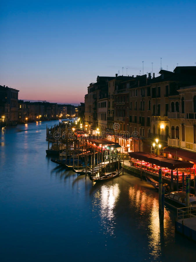 The Grand Canal At Dusk In Venice Stock Photos