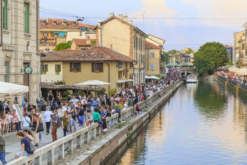 Grand Canal en el distrito de Navigli, Milán foto de archivo libre de regalías