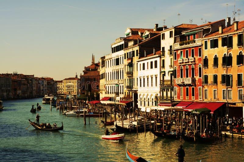 Grand Canal en gondels, in Venetië, Italië, Europa royalty-vrije stock afbeeldingen