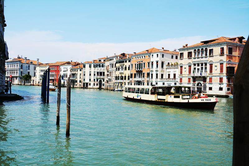 Grand canal, ferry boat, panoramic view in Venice, in Europe royalty free stock photography