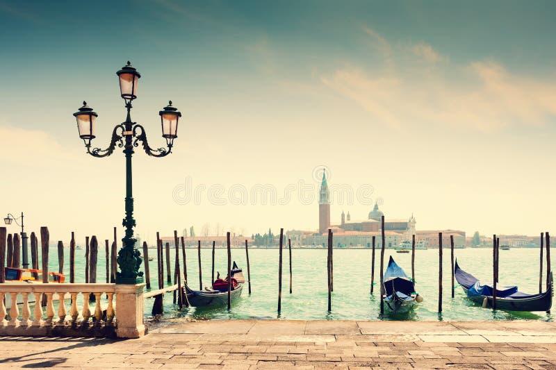 Grand Canal and gondolas in Venice, Italy stock photo
