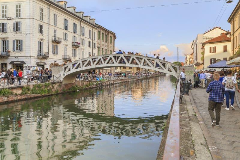 Grand Canal in het Navigli-district, Milaan royalty-vrije stock foto's